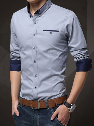 Picture of Men's Plus Size Shirt Turn Down Collar Long Sleeve Slim Fashion Top - Size: XL