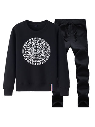 Picture of Men's 2 Pcs Pants Set O Neck Round Shape Pattern Sweatshirt Comfy Pants Men's Suit - Size: XL