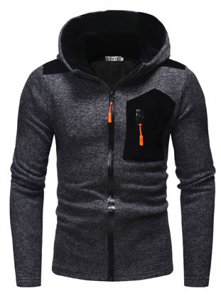 Picture of Men's Hoodie Personality Color Block Patchwork Zipper Design Trendy Hooded Casual Hoodie - Size: XXL