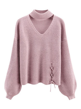 Picture of Women's Sweater V Neck Bandage Long Sleeve Knitwear - Size: Free