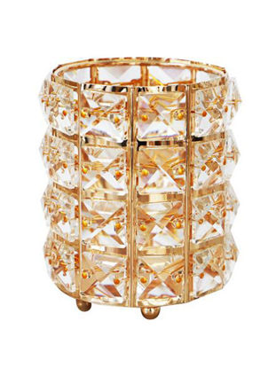 Picture of Nordic Style Gold Crystal Makeup Brush Storage Bucket Cosmetic Storage Box - Size: One Size