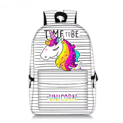 Picture of Kid's Backpack Bag Striped Cartoon Animal Pattern Large Capacity Boy'sSchoolBag - Size: One Size