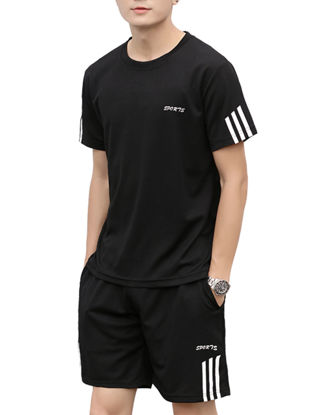 Picture of Men's 2Pcs Shorts Set Fashion Striped Letter T Shirt Mid Waist Pocket Casual Shorts Suit - Size: XXL