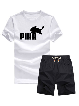 Picture of Men's 2Pcs Set Cartoon Print Cotton Top Causal Solid Color Shorts Set - Size: XXL