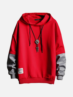 Picture of Men's Hoodie Fashion Long Sleeve Patchwork Loose Hoodie - Size: L