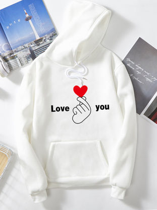 Picture of Women's Hoodie Fashion Heart Letter Pocket Long Sleeve Hoodie - Size: XL