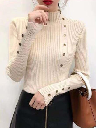 Picture of Women's Sweater Turtle Neck Long Sleeve Solid Color Button Slim Sweater - Size: Free