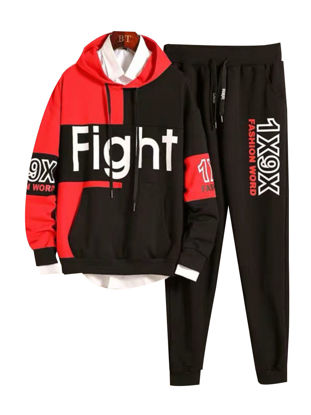 Picture of Men's 2Pcs Set Color Block Long Sleeve Letter Print Pocket Hoodie Drawstring Pants Set - Size: XXL
