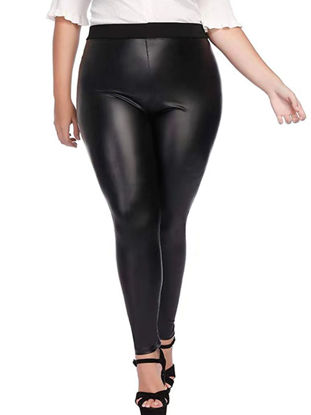 Picture of Women's Plus Size Leggings Solid Color High Waist Slim Casual Pants - Size: 4XL