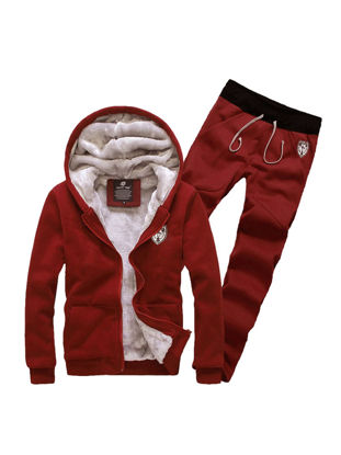 Picture of Men's Hoodie Suits Thicken Warm Hooded Solid Color Cozy Hoodie Sets - Size: M