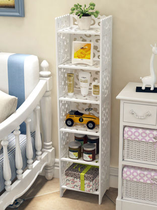 Picture of Storage Rack White Carving Multi Function Six Layer Home Organizer