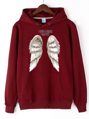 Picture of Men's Hoodie Wing Pattern Print Casual Comfy All Match Hoodie - Size: 3XL