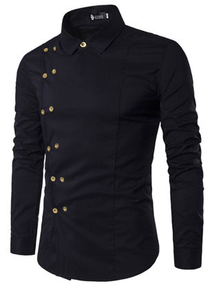 Picture of Men's Shirt Turn Down Collar Long Sleeve Solid Color Faddish Slim Top - Size: XL
