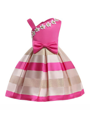 Picture of Toddlers Girl's Dress Fashion Sweet Stylish Patchwork Bow Design Gown - Size: Reference Height:130cm