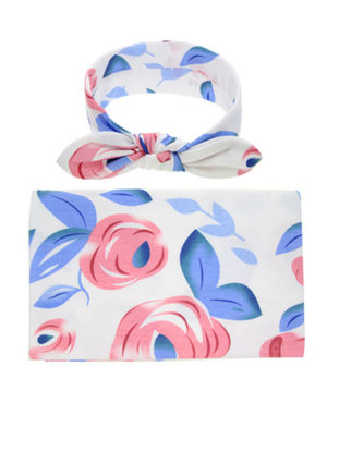 Picture of Baby's 2 Pcs Set Blanket Fresh Style Photographic Floral Fruit Pattern Comfy Baby's Blanket - Size: One Size