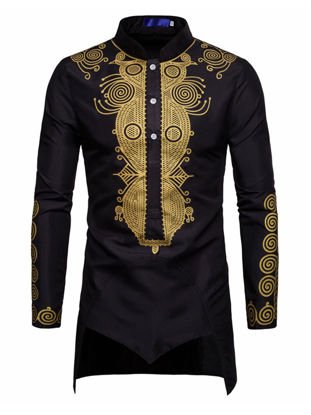 Picture of Men's Shirt Stand Collar Long Sleeve Floral Slim Long Top - Size: M