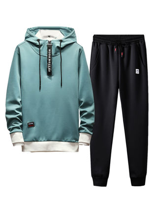 Picture of Men's Pants Set Causal Zipper Patchwork Hoodie Pants Set - Size: L