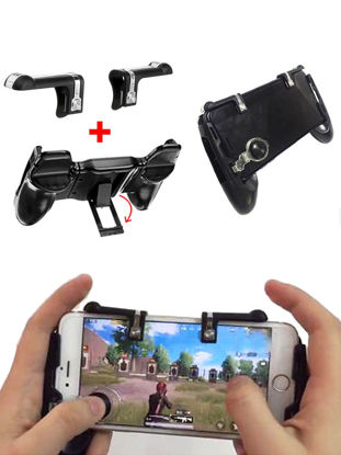 Picture of Games Handle + Button Set Built-In Holder Gaming Accessories For 4/7-6.4 Inch Mobile Cellphone - Size: Free