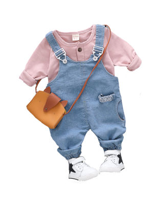 Picture of Toddlers 2Pcs Baby's Set O Neck T Shirt Suspender Pants Adorable Set - Size: 90cm