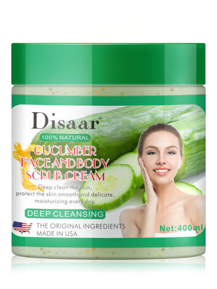 Picture of Disaar Cucumber Face and Body Scrub Cream Natural Deep Cleansing Exfoliating Gel 400ml