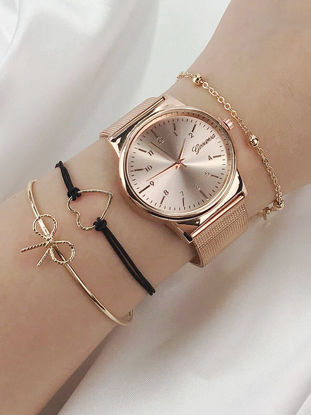 Picture of 4 Pcs Women's Fashion Watch Rhinestone Pointer Brief Design Round Dial Trendy Watch - Size: One Size