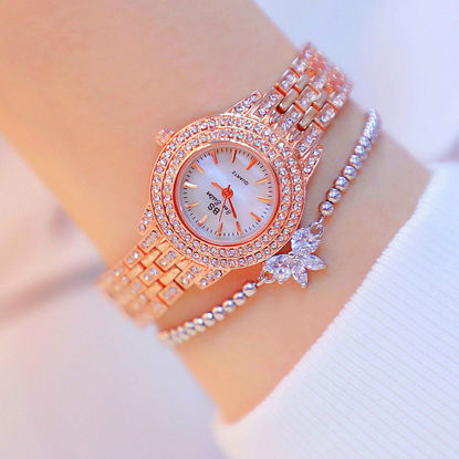 Picture of 2Pcs Women's Fashion Watch & Bracelet Set Simple Design Rhinestone Decor Round Dial Watch Set - Size: One Size