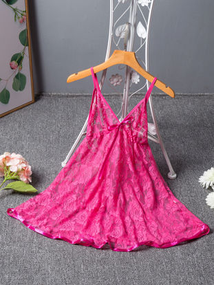 Picture of Women's Babydolls Lace See Through V Neck Backless Charming Night Slip Dress - Size: Free