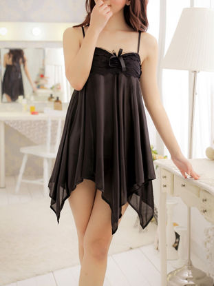 Picture of Women's Babydolls Sexy Lace Patched Solid Color Uneven Hem Night Slip Dress - Size: Free
