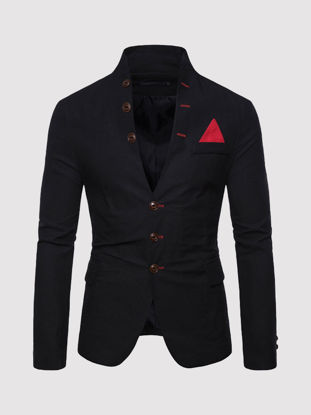 Picture of Men's Blazer Stand Collar Long Sleeve Solid Color Slim Blazer - Size: L