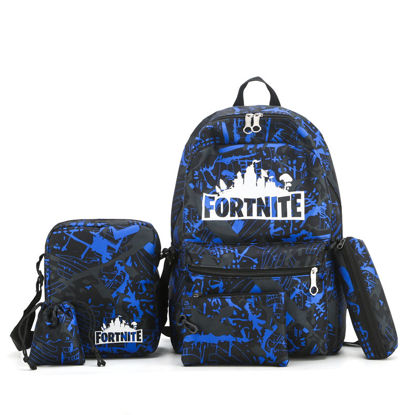 Picture of 5Pcs Men's Backpack Set Letters Print Preppy Causal Bags Set - Size: One Size