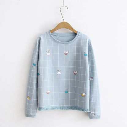 Picture of Japanese fashion cute plaid long-sleeved sweater female student loose bottoming shirt - Size: Free
