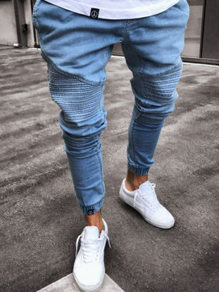 Picture of Men's Jeans Mid Waist Solid Color Patchwork Slim Jeans - Size: 3XL