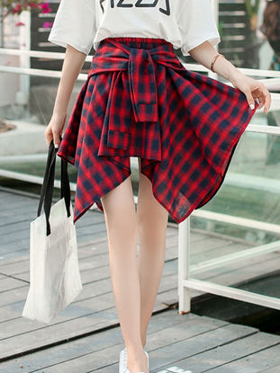 Picture of Women's Asymmetrical Skirt Plaid High Waist Sash Skirt - Size: Free