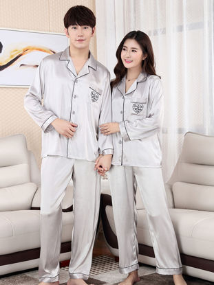 Picture of Couple's Pajamas Set Silk Like Notched Collar Long Sleeve Chic Home Pants Set - Size: Women XXL
