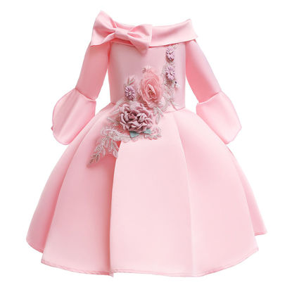 Picture of Toddler Girls Girls' Dress Off Shoulder Patchwork Exquisite Midi Aline Dress - Size: Reference Height:150cm