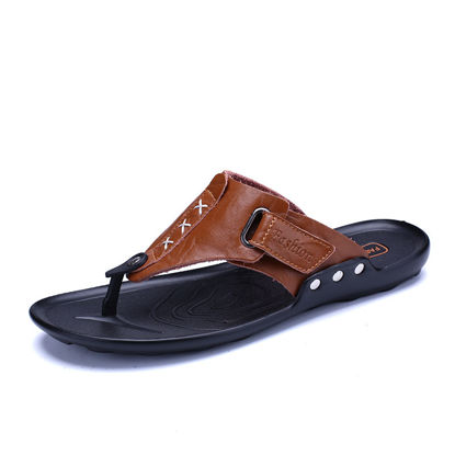 Picture of Men's Flip Flops Anti-skidding Retro Style Beach Shoes - Size: 42