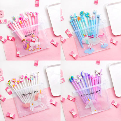 Picture of 10 Pcs Gel Pens Set Candy Color Cute Cartoon Shape Stationery Set - Size: One Size
