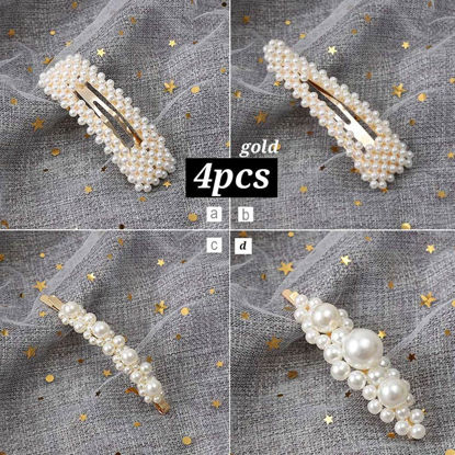 Picture of 4 Pcs Women's Hair Clips Imitation Pearl Ladylike Fashion Hair Accessory - Size: One Size