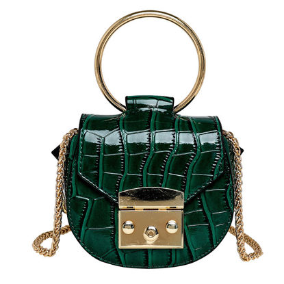 Picture of Women's Handbag Solid Color Metal-ring Handle Crossbody Bag - Size: One Size