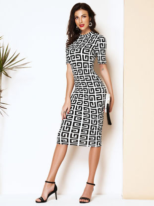 Picture of Women's Pencil Dress O Neck Geometry Slim Fashion Dress - Size: M