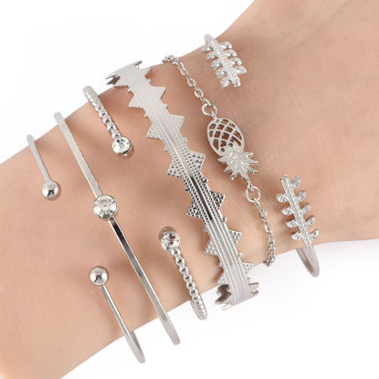 Picture of 6Pcs Women's Fashion Bracelet Retro Pineapple Leaf Rhinestone Inlay Bracelet Accessory - Size: Resizable