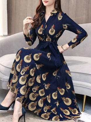 Picture of Women's Aline Dress High Waist Patchwork Stand Collar Long Sleeve Dress - Size: 3XL