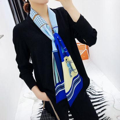 Picture of Women's Imitated Silk Scarf Animal Pattern Plaid Scarf Accessory - Size: One Size