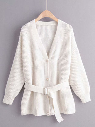 Picture of Women's Cardigan Belt Long Sleeve V Neck Buttons Knitwear - Size: Free