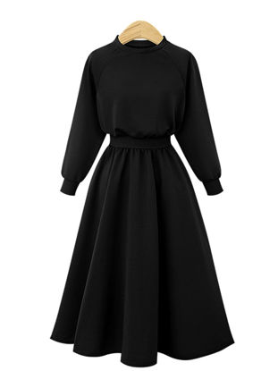 Picture of Women's A Line Dress O Neck Solid Color Long Sleeve High Waist Fashion Dress - Size: L