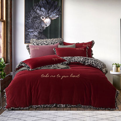 Picture of 4 Pieces Duvet Cover Set Simple Patchwork Embroidery Ruffle Edge Soft Bedding Set - Size: 2#0m/2#2m Bed