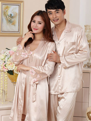 Picture of Couple's Sleepwear Set Silk Like Embroidery Long Sleeve Chic Elegant Home Set - Size: Women XXL