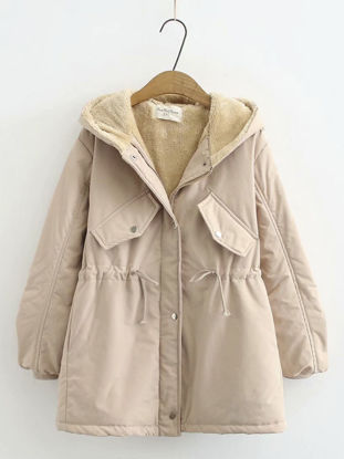 Picture of Women's Plus Size Coat Fleece Hooded Pocket Outerwear - Size: 3XL