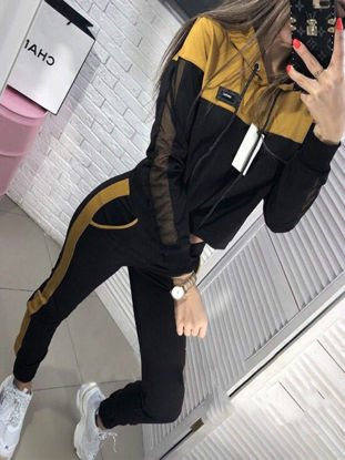 Picture of Women's 2Pcs Hooded Long Sleeve Patchwork Hoodie Mid Waist Fashion Pants - Size: L