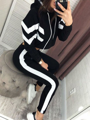 Picture of Women's 2Pcs Hooded Long Sleeve Patchwork Hoodie Slim Waist Drawstring Pants - Size: L